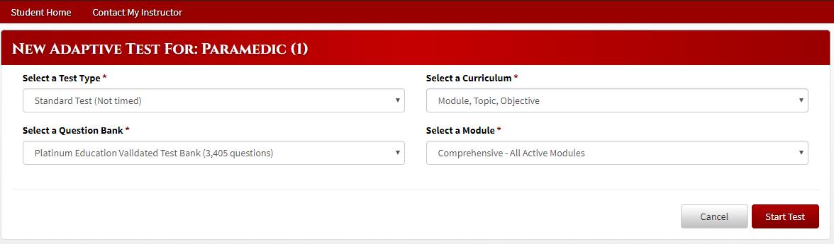 Student) How do I take Adaptive Tests in EMSTesting com? – Platinum